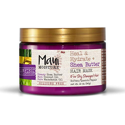 Maui Moisture Heal & Hydrate + Shea Butter Hair Mask & Leave-In Conditioner Treatment to Deeply Nourish Curls & Help Repair Split Ends, Vegan, Silicone-, Paraben- & Sulfate-Free, 12 oz