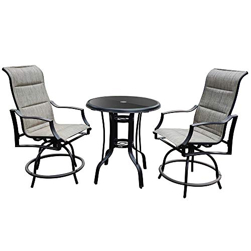 ZXHH 3-Piece Outdoor Swivel Bar Height Patio Dinning Set, Outdoor Patio Bistro Swivel Bar Sets - Metal High Top Patio 2 Bar Chairs & 1 Table for Bistro, Lawn, Backyard - Ship from US