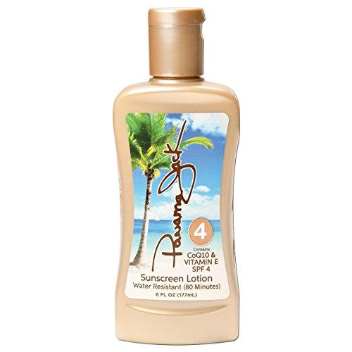 Panama Jack Sunscreen Tanning Lotion - SPF 4, Reef-Friendly, PABA, Paraben, Gluten & Cruelty Free, Antioxidant Moisturizing Formula, Water Resistant (80 Minutes), 6 FL OZ (Pack of 1)