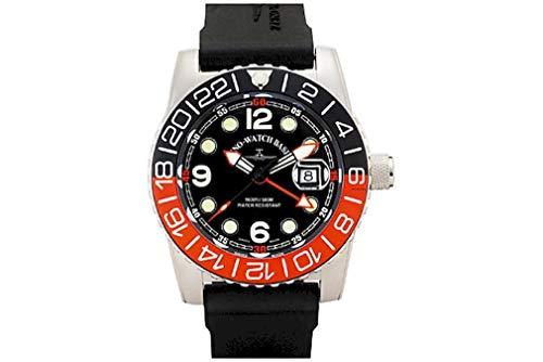 Zeno-Watch – Orologio da polso – Uomo – Airplane Diver Quartz GMT Points (Dual Time). Black/orange - 6349Q-GMT-a1-5