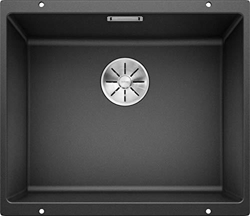 BLANCO SUBLINE 500-U – Granitspüle für die Küche für 60 cm breite Unterschränke – Unterbau – aus SILGRANIT – Grau – 523432