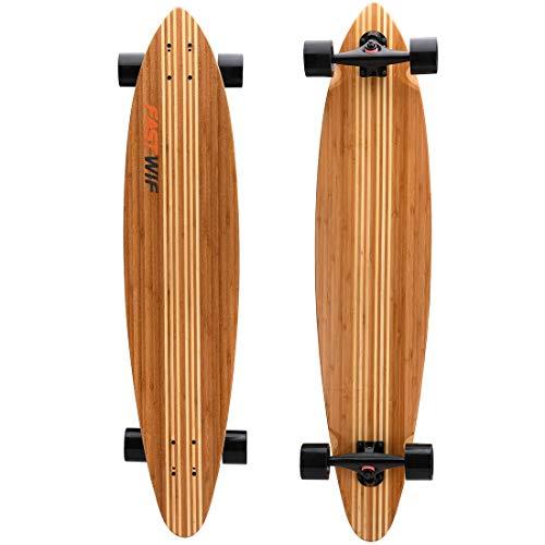 FASTWIF Longboard-Skateboard mit hartem Ahorn-Bambuskern | Cruising, Carving, Tanzen, Downhill | Professionelles Gratis-Skateboard-Werkzeug