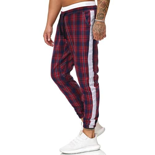 Aiserkly Pantaloni da uomo con stampa a Plaid, per il tempo libero, da lavoro, slim fit, pantaloni chino, pantaloni chino, pantaloni chino, pantaloni da passeggio, pantaloni con coulisse X-grigio. M