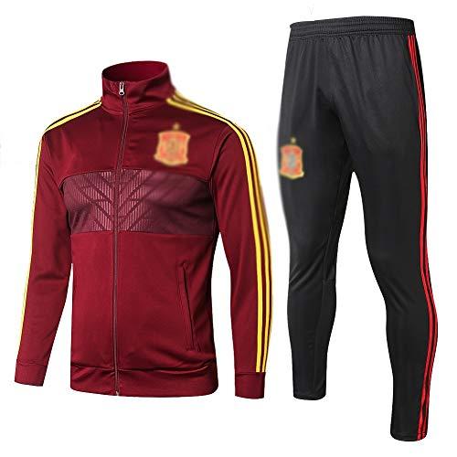 ZHWEI Traje entrenamiento de fútbol Club de adulto Camiseta de la Juventud de manga larga y pantalones de jogging BreathableTop QL0207 Traje Respirable (Color : Burgundy, Size : S)