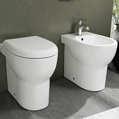 Sanitari filo parete senza brida Ceramica Azzurra Absolute wc + bidet + sedile soft close