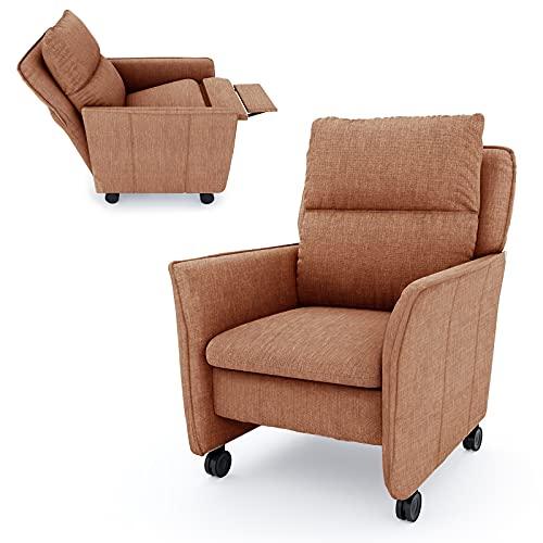 place to be. M19119 - Sillón de relax con función reclinable y función de dormir sobre ruedas (giratorio), color naranja
