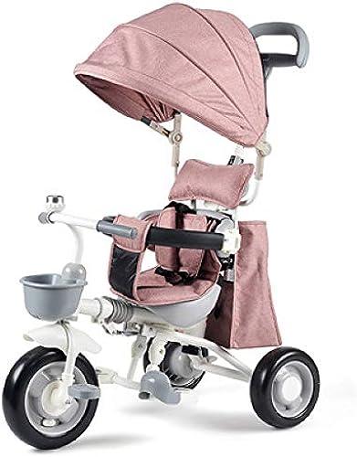 QXMEI 4 In 1 Dreirad Für Kinder Ab 1 Bis 5 Jahre Kinder Dreirad Frei Zusammengebaut Verstellbar Schubstange ZWeißPunkt-Sicherheitsgurte Dreirad Für Kinderwagen Belastbarkeit Bis 40 Kg,Rosa-OneGröße