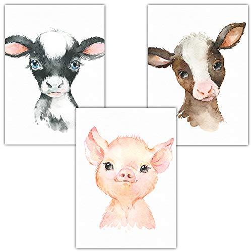 Frechdax® 3er Set Bilder für Kinderzimmer A4 | Bauernhof Bilder | Junge Mädchen (3er Set Kuh, Schwein, Ziege)