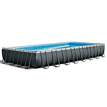 Intex 32ft X 16ft X 52in Ultra XTR Rectangular Pool Set with Sand Filter Pump & Saltwater System Ladder Ground Cloth Pool Cover Maintenance Kit & Volleyball