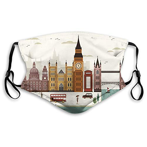 Comfortable Windproof mask,London,Travel Scenery Famous City England Big Ben Telephone Booth Westminster,Cream,Printed Facial decorations for Unisex-1562