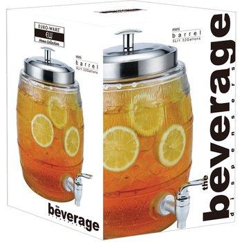 Euro-Home SS-DK-EW65050 EW65050 5 L Mini Barrel Glass Beverage Dispenser, Multicolor