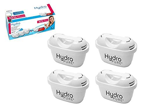 BostonTech 4 Cartuchos Hydro Pure+, filtros de agua compatibles con Jarras Brita Maxtra y Maxtra+, Efecto Prolongado (8 Meses, 4 x 60 días Cada Filtro) reducen la Cal y el Cloro. Gran Sabor
