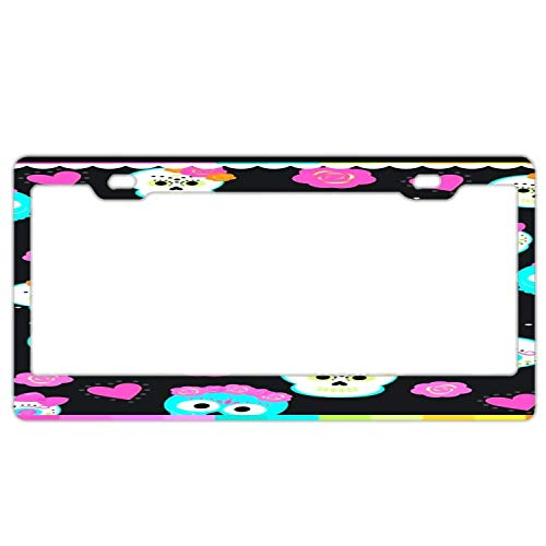 "Promini Abstract Cute Sugar Skulls License Plate Frame Car Licence Plate Covers Auto Tag Holder 6"" x 12"""