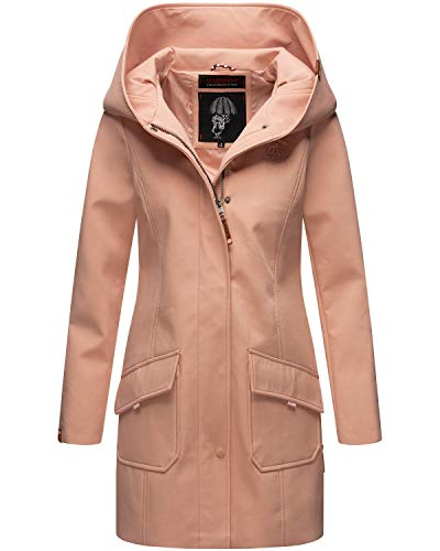 Marikoo Damen Softshell Jacke lang Outdoor Mantel Parka wasserdicht mit Kapuze Mayleen Rose Gr. M