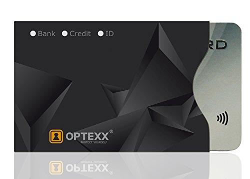 OPTEXX® 1x RFID Schutzhülle TÜV geprüft & zertifiziert Finn für Kreditkarte | EC-Karte | Personal-Ausweis Hülle sicheres Blocking von Funk Chips
