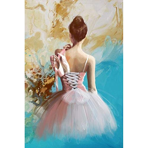 Hermosa chica pintura bailarina de ballet pintura al óleo sobre lienzo, dormitorio bailarina espalda decoración del hogar pintura hecha a manosin marco