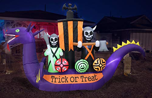 Blow Up Skeletons and Bat in Dragon Pirate Ship Halloween Decor for Yard