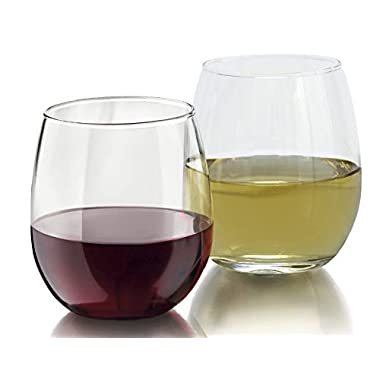 Royal 4-Piece Stemless Wine Glass Set, Elongated and Shatter-Resistant Glass, 15oz