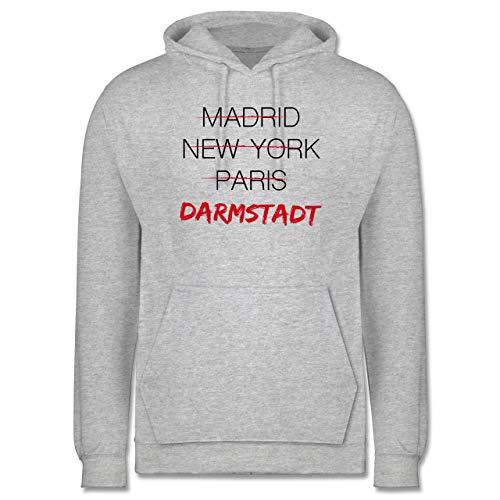 Shirtracer Städte - Weltstadt-Darmstadt - XXL - Grau meliert - JH001_Hoodie_Herren - JH001 - Herren Hoodie und Kapuzenpullover für Männer