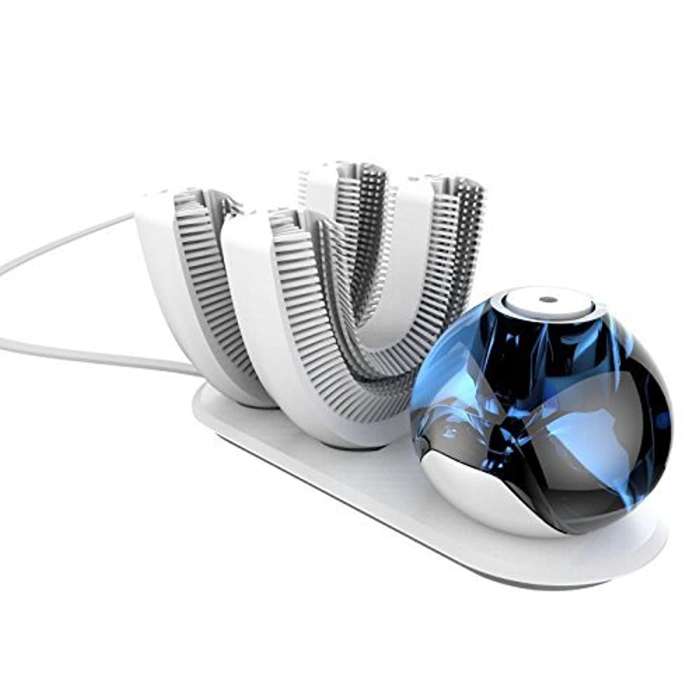 受け取る確執有名な怠け者牙刷-電動 U型 超音波 専門370°全方位 自動歯ブラシ ワイヤレス充電 成人 怠け者 ユニークなU字型のマウスピース わずか10秒で歯磨き 自動バブル 2本の歯ブラシヘッド付き あなたの手を解放 磁気吸引接続 (ダークブルー)