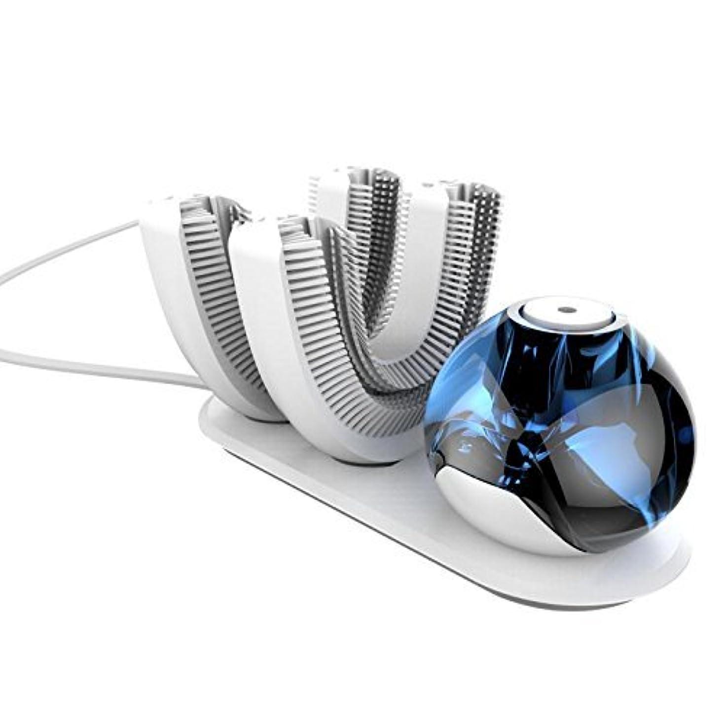 アレンジ獣放射能怠け者牙刷-電動 U型 超音波 専門370°全方位 自動歯ブラシ ワイヤレス充電 成人 怠け者 ユニークなU字型のマウスピース わずか10秒で歯磨き 自動バブル 2本の歯ブラシヘッド付き あなたの手を解放 磁気吸引接続 (ダークブルー)