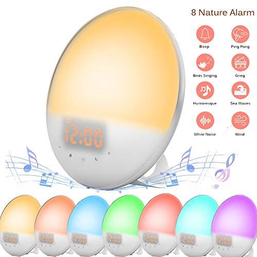 ALLOMN Clever wekker, zonsopgangsimulatie dimbaar 7 kleuren RGB klok afwaken FM-radio nachtlampje op bed, 30 s opnamefunctie, wekker sluimerfunctie, 8 geluiden, EU-stekker en USB-opladen