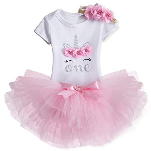 TTYAOVO Bebé Niña 1er cumpleaños 3pcs Conjuntos con Diadema de Unicornio y Mameluco y Faldas (02 Rosado, 1 año)