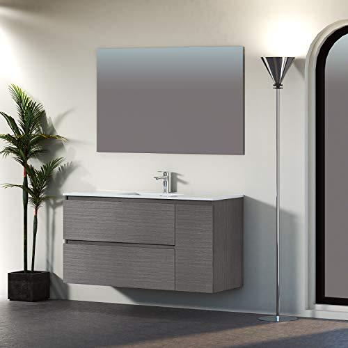 Baikal 830134049 Conjunto de Mueble de Baño suspendido a la Pared, con Lavabo en Ceramica y Espejo, Dos cajones y una Puerta, Melamina 16, Acabado en Roble Gris Ceniza, 120 x 65 x 46 cm