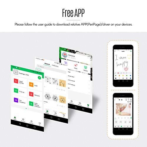 Aibecy PeriPage P6 Mini -Thermodrucker Fotodrucker Pocket Drucker BT Wireless Aufkleber Memo AR Foto Bild Instant Mobile Drucker 203DPI Auflösung Kompatibel mit Android iOS Smartphone Windows