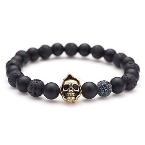Karseer Black Matte Onyx Lava Rock Energy Stone Beaded Stretch Bracelet, Vintage Bronze Grim Reaper Skull with Dark Lightning Agate Bead Bangle, Personalized Aromatherapy Diffuser Bracelet for Anxiety