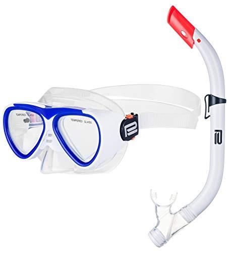 Prosske Schnorchelset CATFISCH Schnorchelmaske Taucherbrille Anti-Fog aus Gehärtetem Glas und Dry Top Schnorchel Kinder und Jugendliche - Weiss-blau