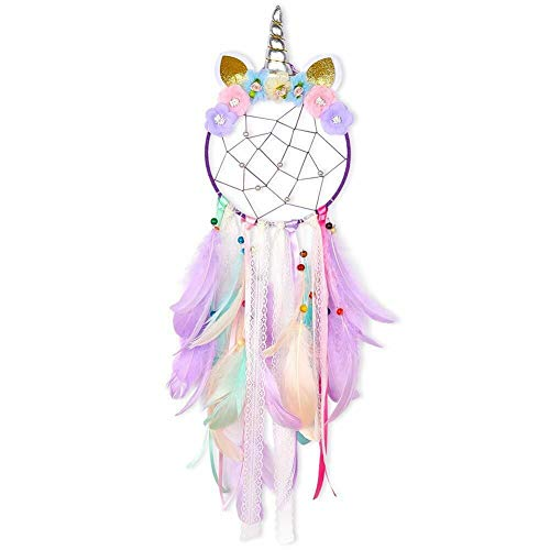 SO CAL PRO Dream Catcher Feather Pendant Wall Hanging for Car Home Girls Kids Nursery Mobile Bedroom Decoration Decor Many Styles and Colors to Choose from (Purple)