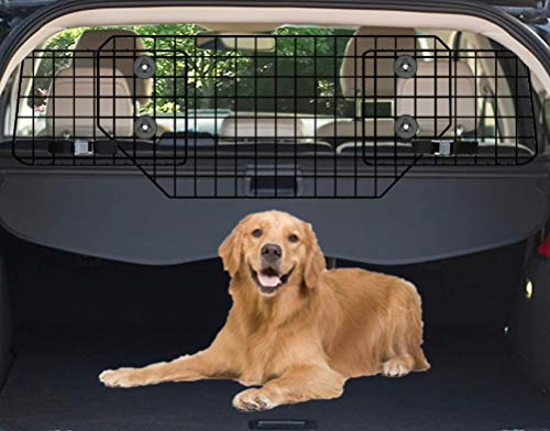 C CASIMR Extended Large Car Dog Barrier, 35.5-60 Inch Adjustable to Universal-Fit SUVs, Cars and Vehicles, Smooth Designed Wire Mesh Pet Barriers