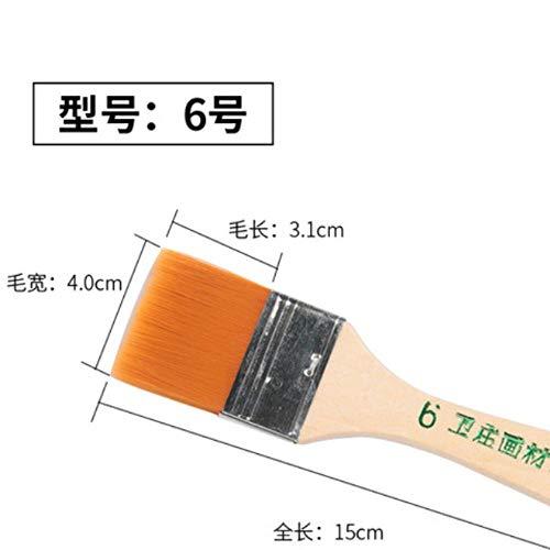 WOOAI 1PC Hochwertiger Holzgriff Pinsel Ziege Nylon Haarfarbe Pinsel Aquarellpinsel für Acrylölgemälde Briefpapier, 6