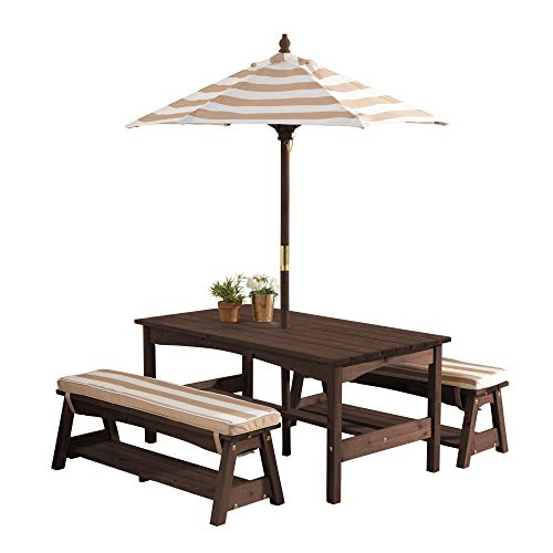 KidKraft 500 Outdoor Table & Bench Set with Cushions & Umbrella - Oatmeal & White Stripes Childrens Furniture