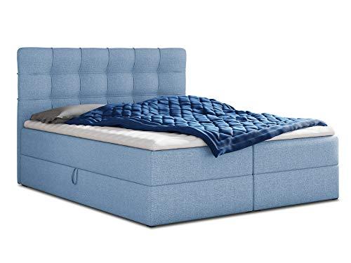 Boxspringbett Best mit 2 Bettkästen, Doppelbett mit Bonell-Matratze und Topper, Polsterbett, Bett, Bettgestell, Stilvoll, Schlafzimmer (Blau (Vidar 83), 140 x 200 cm)
