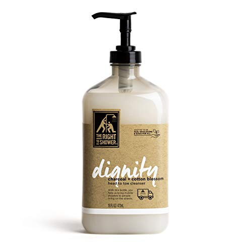 The Right To Shower Dignity Body Wash Charcoal and Cotton Blossom Vegan 16 oz