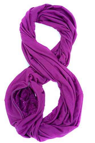 WAYPOINT GOODS Travel Scarf // Infinity Scarf with Secret Hidden Zipper Pocket (Orchid)