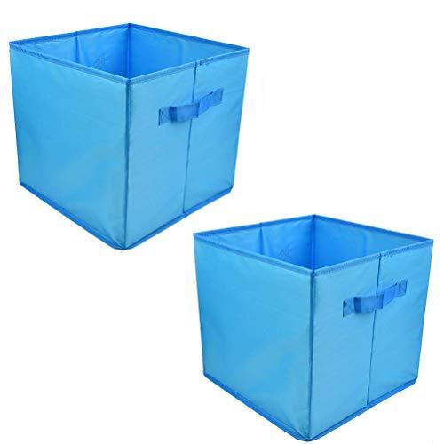 JAOMON - Caja de Almacenamiento de Cesta Plegable de 2 Piezas, Cesta de Lavandería, Paquete de Almacenamiento para Accesorios, Juguetes, Ropa, DVD, Libros, Comida, Organizador de Cajas de Azul