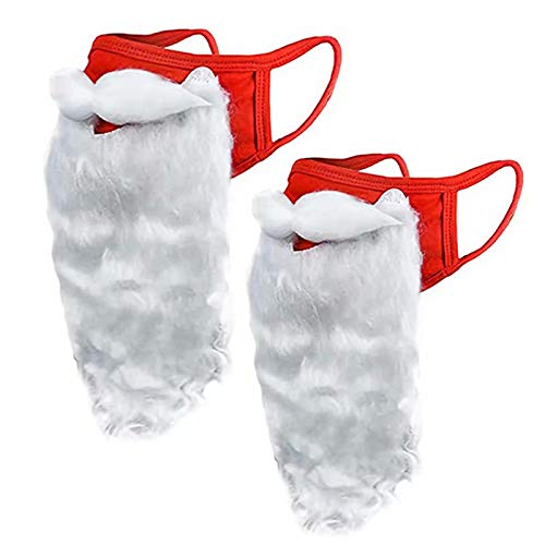 Santa Beard Face_Mask, 2 PCS Christmas Santa Claus Adult Face Covering and Beard Costume, 2020 Christmas Holiday Christmas Party Role Playing Red