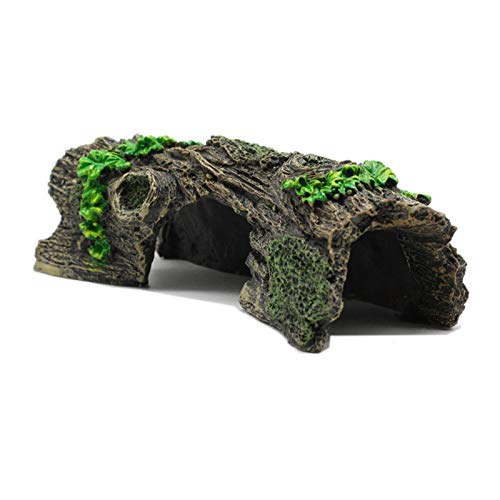 RONGTUO Decaying Hollow Tree Trunk Fish Tank Decorations Aquarium Reptile Toys Shrimp Tank Driftwood cave Betta Hideout Christmas Fish Tank Decorations (Resin)