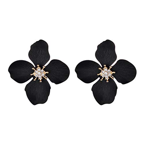 Nicole Miller New York Black Four Leaf Flower Gold Crystal Rhinestone Stud Earrings