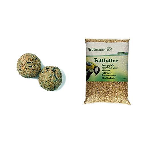 Erdtmanns Meisenknödel 100er ohne Netz, 1er Pack (1 x 8.5 kg) &  Fettfutter, 1er Pack (1 x 5 kg)