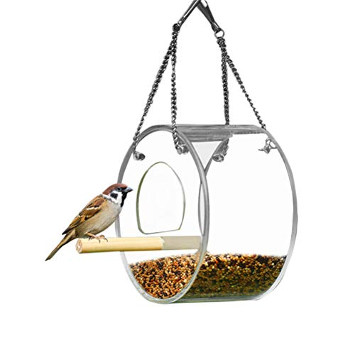 Artoct halfgesloten vogelhuisje, transparante automatische voederautomaat voor vogelhuisjes