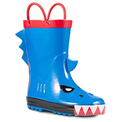 ZOOGS Children's Rubber Rain Boots, Little Kids & Toddler, Boys & Girls Patterns, Blue (Angry Shark Fin), 10 Toddler