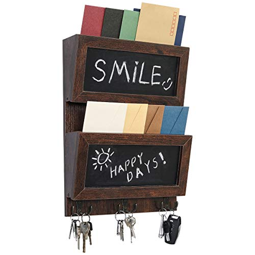 PAG 2-Slot Hanging Mail Holder Organizer Wall Mounted Wooden Mail Sorter with Chalkboard and 3 Double Key Hooks for Entryway, Brown