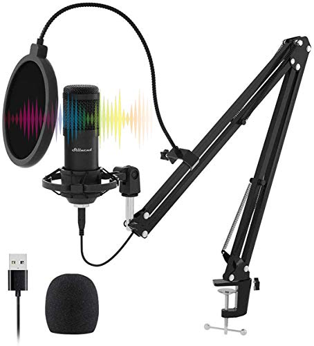 USB Streaming Microphone Kit, Stilnend Professional 192KHZ/24Bit Studio Cardioid Condenser Mic Kit with Sound Chipset Boom Arm Shock Mount Pop Filter, for PC Karaoke Skype Youtuber Gaming Recording