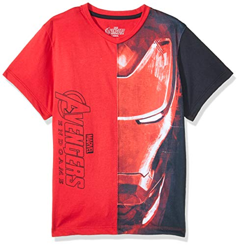 Avengers End Game Playera Iron Man Camiseta de Manga Corta para Niños, Color Roja, 10