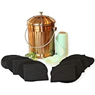 Gardenatomy Copper Kitchen Compost Bin Countertop – LARGE 1.3 Gallon Food Scrap Container, Leak proof Stainless Steel with Copper - Includes 1 Year's Worth of Dual Charcoal Filters & Liner Bags Complete Kit