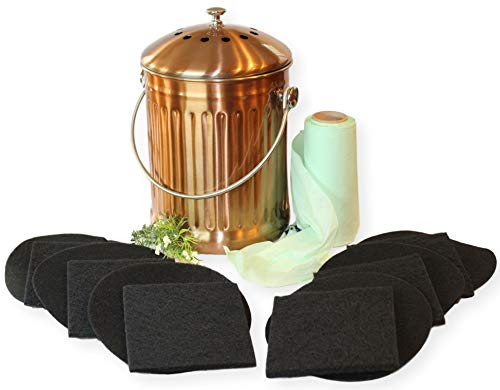 Review Of Gardenatomy Copper Kitchen Compost Bin Indoor Countertop – LARGE 1.3 Gallon Food Scrap C...